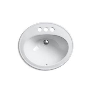 KOHLER Pennington Drop-In Bathroom Sink with Single Faucet Hole - Grey