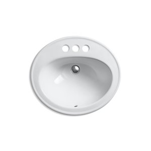 KOHLER Pennington Drop-In Sink with Single Faucet Hole - 17-in - Off-White