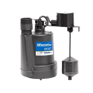 nForcer Thermoplastic Sump Pump - 1/4 HP - Cast Iron