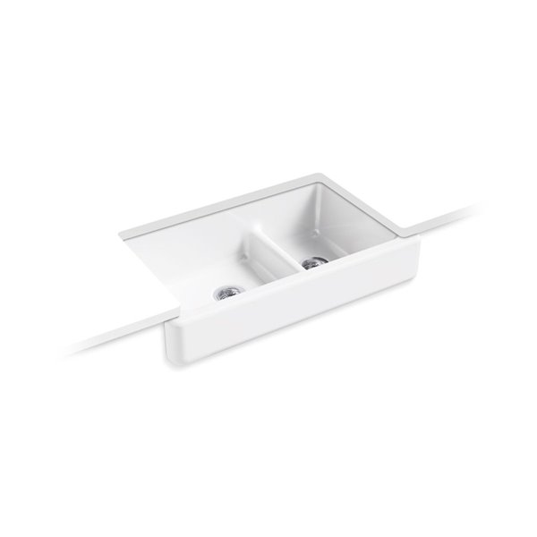 Kohler Smart Divide Undermount Double Bowl Large Mmedium Farmhouse Kitchen Sink White 33 5 In Lowe S Canada