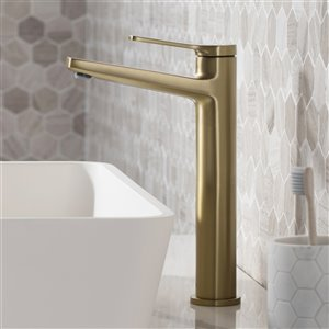 KRAUS Indy Vessel Sink Faucet and Pop Up Drain - Brushed Gold