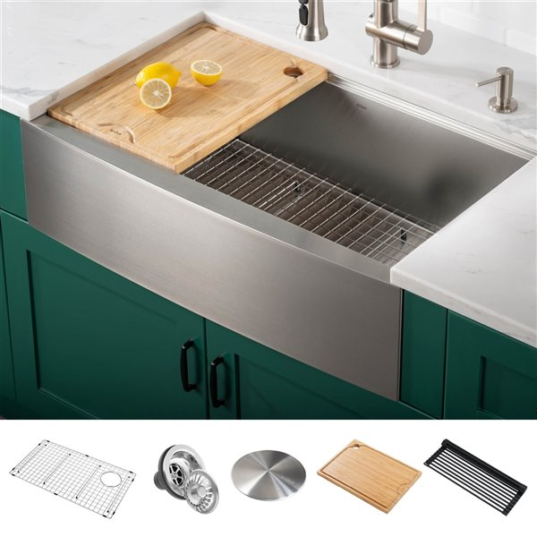Kraus Kore Workstation Apron Front Farmhouse Kitchen Sink 29 88 In X 20 24 In Lowe S Canada
