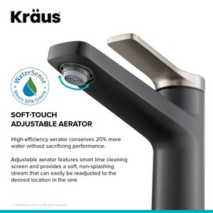 KRAUS Indy Spot Free Stainless Steel Bathroom Sink Faucet and Drain