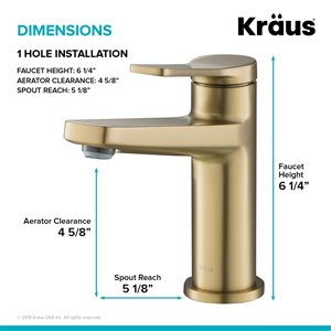 KRAUS Indy Brushed Gold Bathroom Sink Faucet and Pop Up Drain