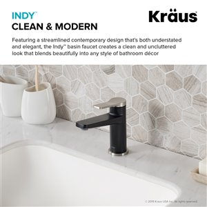 KRAUS Indy Stainless Steel Sink Faucet and Pop Up Drain