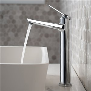 KRAUS Indy 1-Handle Vessel Bathroom Sink Faucet with Pop-Up Drain -  Chrome
