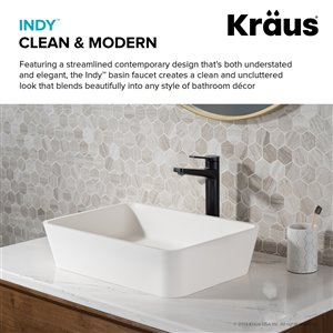 KRAUS Indy Bathroom Vessel Sink Faucet and Pop Up Drain - Matte Black