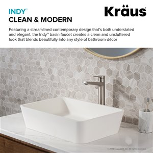 KRAUS Indy Spot Free Stainless Steel Bathroom Sink Faucet with Pop-Up Drain
