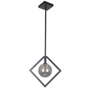 Dainolite Glasgow Pendant Light - 1-Light - 12-in x 11.38-in - Matte Black/Smoked Glass