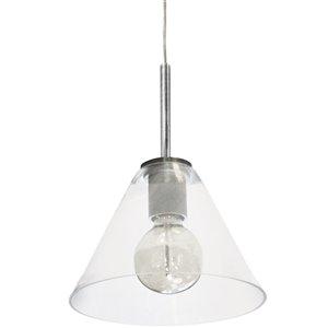 Dainolite Roswell Pendant Light - 1-Light - 9-in x 10.5-in - Satin Chrome