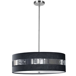 Dainolite Willshire Pendant Light - 4-Light - 22-in x 7-in - Polished Chrome/Black