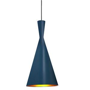 Dainolite Helsinki Pendant Light - 1-Light - 8-in x 15-in - Blue and Gold