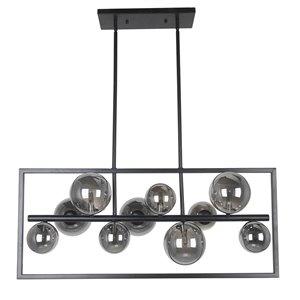 Dainolite Glasgow Pendant Light - 10-Light - 33-in x 14-in - Matte Black/Smoked Glass