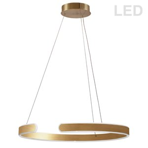Dainolite Zepler Pendant Light - 1-Light - 24-in x 2-in - Aged Brass