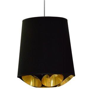 Dainolite Hadleigh Pendant Light - 1-Light - 20-in x 20-in - Black and Gold