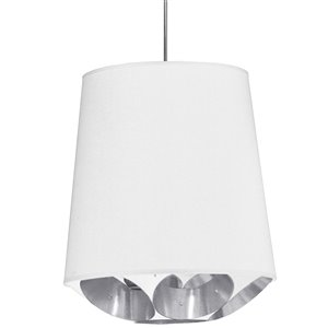 Dainolite Hadleigh Pendant Light - 1-Light - 20-in x 20-in - Polished Chrome/White/Silver