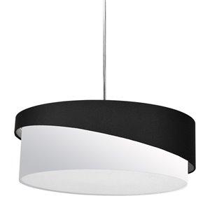 Dainolite Jazlynn Pendant Light - 1-Light - 24-in x 8-in - Polished Chrome/Black/White