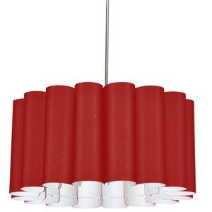 Dainolite Sandra Pendant Light - 4-Light - 24-in x 12-in - Polished Chrome/Red