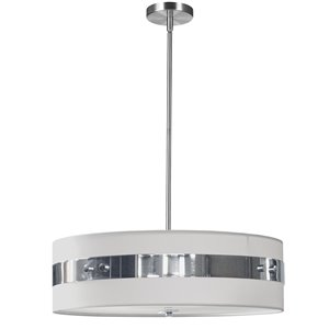 Dainolite Willshire Pendant Light - 4-Light - 22-in x 7-in - Polished Chrome/White
