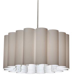 Dainolite Sandra Pendant Light - 4-Light - 24-in x 12-in - Polished Chrome/Beige