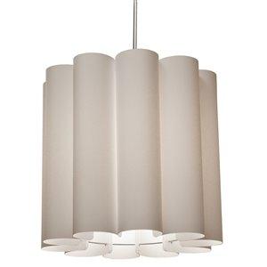 Dainolite Sandra Pendant Light - 1-Light - 19-in x 18-in - Polished Chrome/Beige