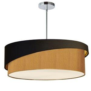Dainolite Jazlynn Pendant Light - 1-Light - 24-in x 8-in - Polished Chrome/Black/Gold