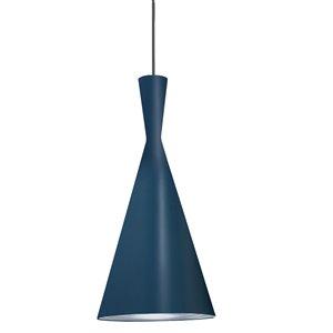 Dainolite Helsinki Pendant Light - 1-Light - 8-in x 15-in - Blue and Silver