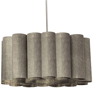 Dainolite Sandra Pendant Light - 4-Light - 24-in x 12-in - Polished Chrome/Grey