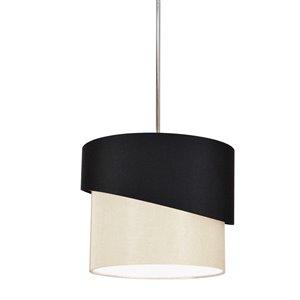 Dainolite Jazlynn Pendant Light - 1-Light - 14-in x 14-in - Polished Chrome/Black/Cream
