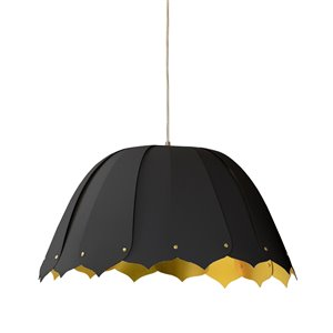 Dainolite Noa Pendant Light - 1-Light - 15-in x 7.5-in - Black/Gold