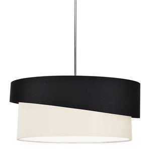 Dainolite Jazlynn Pendant Light - 1-Light - 24-in x 8-in - Polished Chrome/Black/Cream