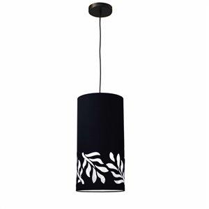 Dainolite Flora Pendant Light - 1-Light - 8-in x 16-in - Matte Black/White