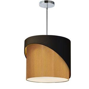 Dainolite Jazlynn Pendant Light - 1-Light - 14-in x 14-in - Polished Chrome/Black/Gold