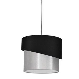 Dainolite Jazlynn Pendant Light - 1-Light - 14-in x 14-in - Polished Chrome/Black/Silver