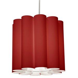 Dainolite Sandra Pendant Light - 1-Light - 19-in x 18-in - Polished Chrome/Red