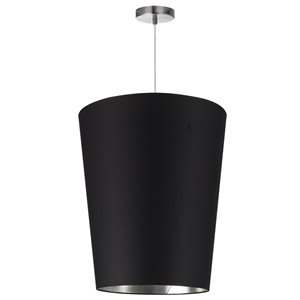 Dainolite Paisley Pendant Light - 1-Light - 16-in x 20-in - Polished Chrome/Black/Silver