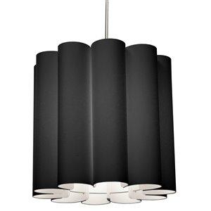 Dainolite Sandra Pendant Light - 1-Light - 19-in x 18-in - Polished Chrome/Black