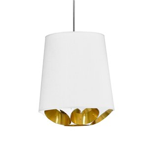 Dainolite Hadleigh Pendant Light - 1-Light - 14-in x 14-in - Polished Chrome/White/Gold