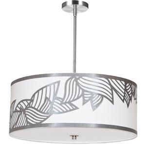 Dainolite Sophia Pendant Light - 4-Light - 24-in x 8-in - Polished Chrome/Silver/White