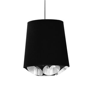 Dainolite Hadleigh Pendant Light - 1-Light - 14-in x 14-in - Polished Chrome/Black/Silver