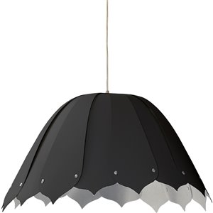 Dainolite Noa Pendant Light - 1-Light - 21-in x 10-in - Polished Chrome/Black/Silver