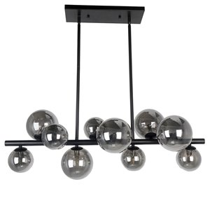 Dainolite Glasgow Pendant Light - 10-Light - 31-in x 11-in - Matte Black/Smoked Glass