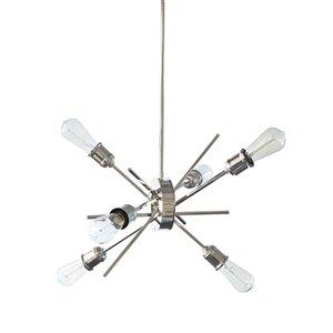 Dainolite Nebraska Pendant Light - 6-Light - 6.5-in x 20-in - Chrome