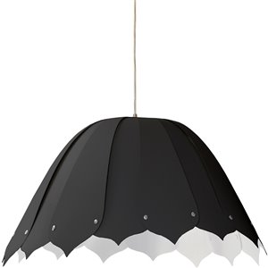 Dainolite Noa Pendant Light - 1-Light - 21-in x 10-in - Polished Chrome/Black/White