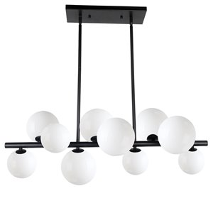 Dainolite Glasgow Pendant Light - 10-Light - 31-in x 11-in - Matte Black/White