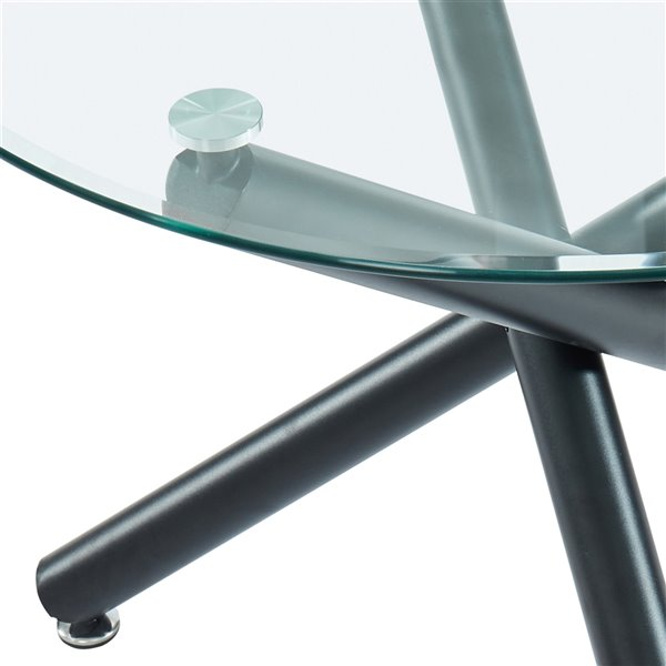 Whi Contemporary Round Glass Dining Table Black 40 In Lowe S Canada