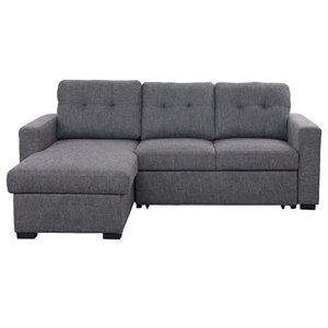 !nspire Contemporary Sectional Sofa with Bed and Storage - Charcoal Gray - 63.5-in x 93.25-in x 37.5-in