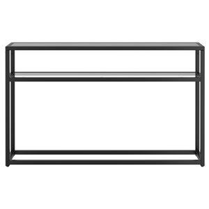 !nspire Contemporary 2 Tier Glass and Metal Console Table - Black - 10-in x 50-in x 29.5-in