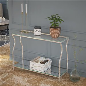!nspire Contemporary 2 Tier Glass, Mirror and Metal Console Table - Chrome - 13-in x 42-in x 30.25-in