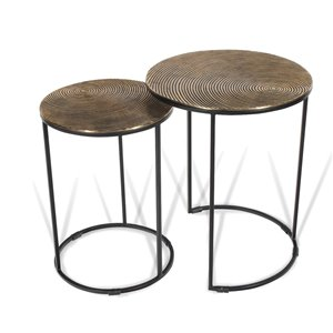 Gild Design House Othello Metal Nesting Tables - Gold and Black - Set of 2